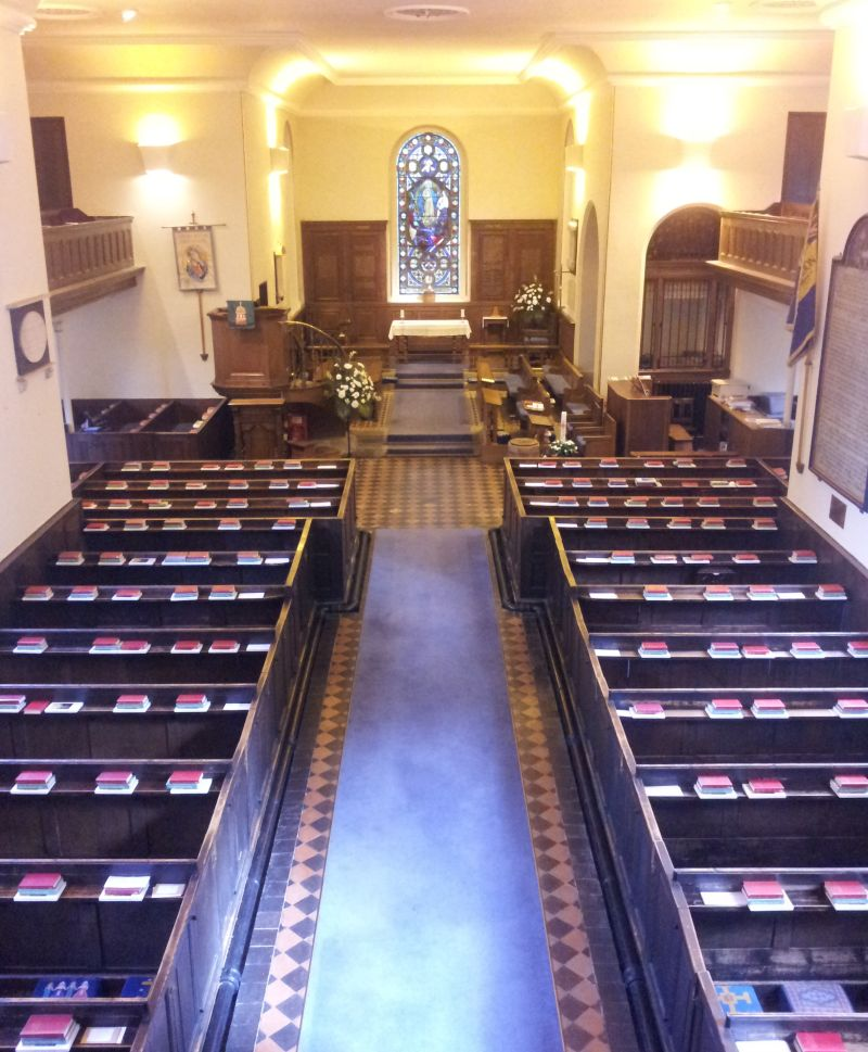 The long aisle leading to the Altar